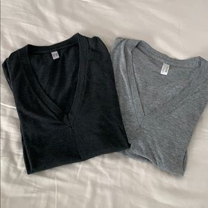 American Apparel size small v-neck tee bundle